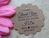 A Sweet Thank You Wedding Tags.  Custom tags in white, ivory, Kraft.  Thank you wedding favor tags.  Thank you tags.
