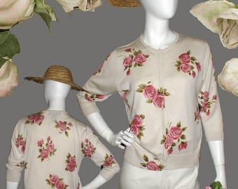 Roses Print on Ivory 100% Silk Cardigan With MOP Buttons and Beaded Collar and Flowers 3/4 Sleeves by August Silk - Mother's Day Gift
