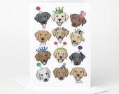 Labrador Dog Birthday Card (dog holiday card, dog celebration card, funny dog card, dog illustration, dog birthday card)