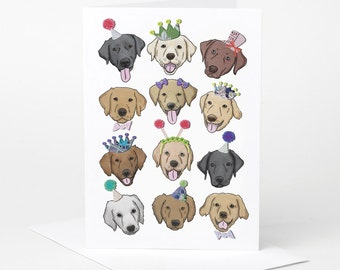 Labrador Dog Birthday Card (dog holiday card, dog celebration card, funny dog card, dog illustration, dog birthday card)