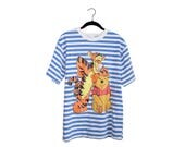 Vintage Winnie The Pooh & Tigger Blue White Sailor Stripe Oversize Tourist 100% Cotton T-Shirt, Made in USA - Large