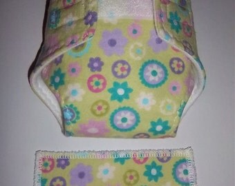 Baby Doll Diaper/wipe - pretty colorful flowers on apple green  - adjustable for many dolls such as bitty baby