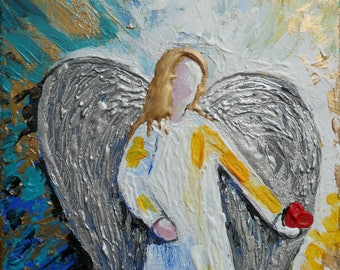 ON SALE Angel with a Heart No. 2 Metallic Gold Metallic Silver painting original Acrylic 10 x 8 palette knife impressionism Skye Taylor