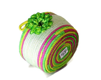Coiled Rope Basket - Bright Yellow Pink Green - Silk Ribbon Flower Organizer