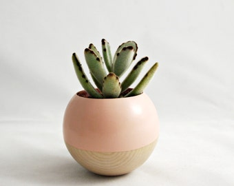 Wood Sphere Pod Planter // Peach + Wood