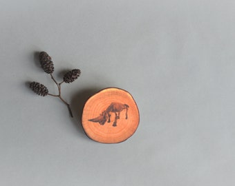 rhino skeleton woodslice brooch - natural history brooch - africa rhino print brooch pin - faux bois brooch - gift for her - gift for him