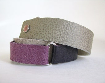 boho wrap leather bracelet in purple and grey - purple and grey festival wrap bracelet - purple and grey leather wrist cuff - gift for her