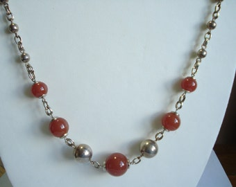 Art Deco Necklace Chrome and Carnelian Glass 1930's 1920's