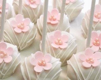 White Chocolate Pink Daisy Cakepop, Cakeball Truffles