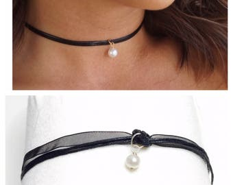 Delicate Black Lace choker, Large round pearl charm, dainty, Goth, juvenile, item no. H200