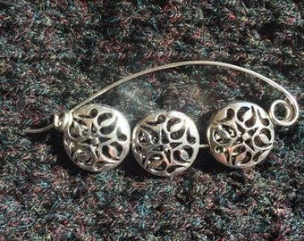 Contemporary Rose lightweight silver Shawl Pin, Scarf Pin, Sweater Pin, Shrug Closure