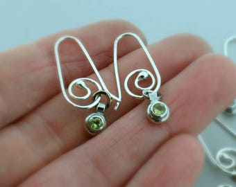 Mothers Day Gift - Birthstone Drops - Dainty Earrings - Silver Earrings - Gift For Her - Push Present - 3mm round - Birthstone Earrings