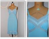 vintage 50s aqua blue dress slip with ruffled bottom trim/vintage slip/dress slip/nylon slip/vintage nylon/aqua blue slip/1950s 50s