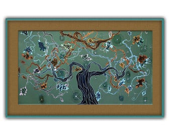 Old oak tree, elven, Middle Earth, fantasy landscape, retirement gift idea, Mixed Painting, green wall hanging, Bistra Sirin's Art