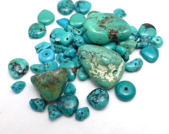 Turquoise beads Orphans - Mixed lot for crafting beading making jewelry Destash JAC