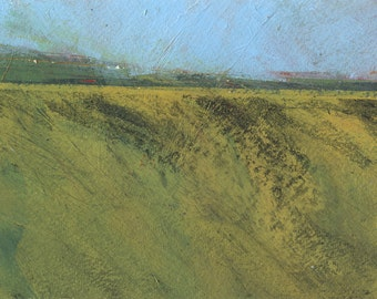 Original minimalist abstract landscape painting - Moorland morning