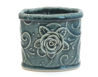 Pencil Holder // Desk Accessory //Ceramic Pencil Holder with Rose Leaves and Vines Teal// Pencil Holder for Desk // Pen Holder
