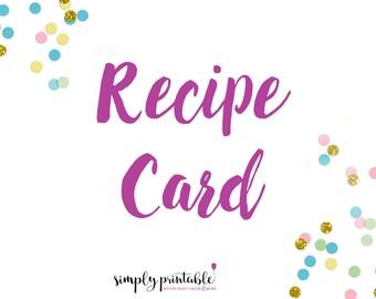Recipe Card to Match Bridal Shower Invitation