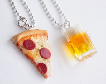 Pizza and Beer BFF Necklaces - Miniature Food Jewelry - Best Friends Jewelry - Valentines Day