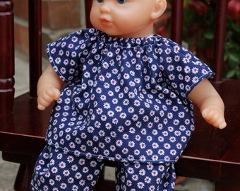 12 inch Corolle Doll Top and Pants, 12 inch Huggums Doll Top and Pants, Blue with White Daisies,  12 inch Doll Clothes, Doll Shirt and Pants