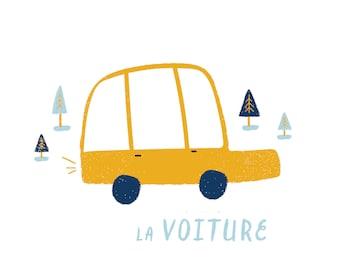 French Car Print Illustration