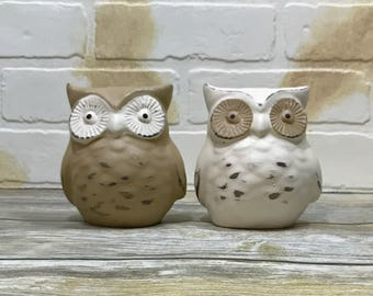 Owl Figurines Set of Two//Beige and White Owl Statues//Bird Figurines//Rustic Farmhouse Decor Set of Owls//Shabby Chic Primitive Owls