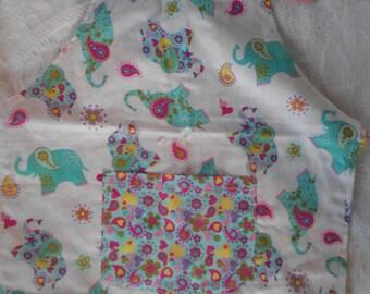 Small Elephant Reversible Child Apron - Valentine Baking Apron -Ready to Ship