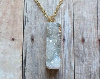 Gorgeous druzy quartz necklace