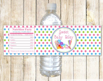 Candy Water Bottle Label - Candy Kids Birthday Party Candy Theme Candy Party Baby Girl Shower Sweets Bottle Label Printable Candy Labels