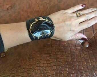 Agate Leather Cuff Bracelet