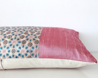Pink pillow cover: boho pillow in luxury damask silk with intricate geometric design in gold thread, global decor pink silk accent pillow