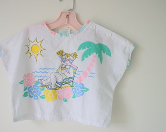Vintage SURFER Kids Top..size 6 kids..crop. girls. beach. boho. children. aztec. urban. boys. bang. ocean. beach bum. hipster kids. retro