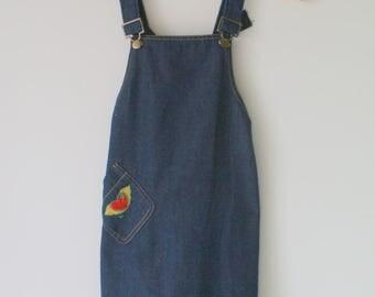 1980s Blue Jean HEARTS Love Dress....size 5 girls....kids. children. kitsch. retro. boho. vintage kids. lace. urban. folk. rockabilly. red