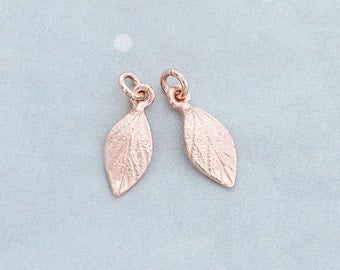 2 of 925 Sterling Silver Rose Gold Vermeil Style Leaf Charms 6x11 mm. , small leaf charms.    :pg0315
