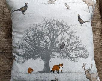 "Fryett's 'Tatton' Woodland Print Cotton Fabric Cushion Cover 16""x16"""