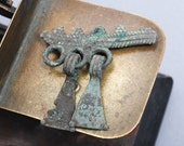 Antique brass connector with pendants, charm, finding, dark patina