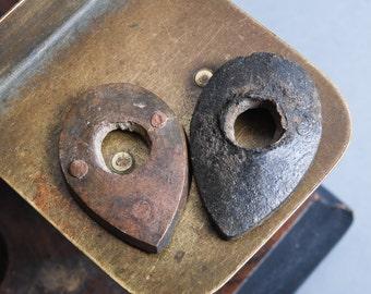 Set of 2 Antique brass plates with hole, connectors, part, primitive finding
