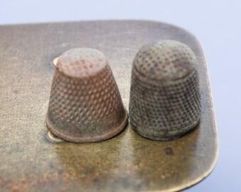 Set of 2 antique brass thimble, dark patina