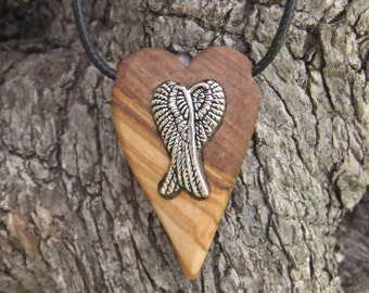 Angel Heart olive wood pendant, with inlaid angel wings