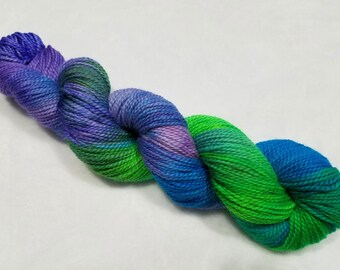 Adora-Baby Alpaca/Merino/Cultivated Silk 45/45/10 Hand Dyed Yarn-3.5 ounces/245 yards- Turquoise. Lime Green, Lilac and Violet