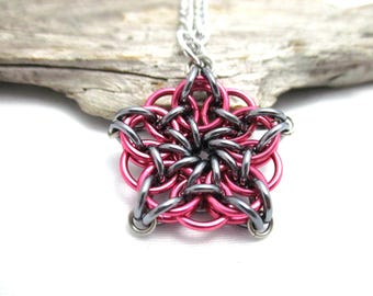 Pink & Grey Chainmail Star - Star Chainmaille Pendant - Celtic Star Pendant Necklace