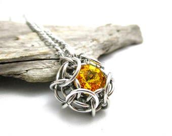 Sunflower Yellow Swarovski Crystal Pendant - Phaedra Chainmaille Pendant - Swarovski Crystal Chainmail Pendant