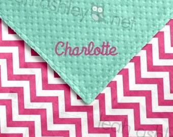Baby Blanket - Hot Pink Chevron Minky, Mint Minky Dot - BB1