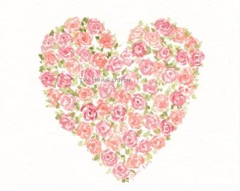 Original Watercolor Painting Heart of Roses