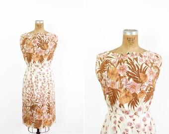 1950s Dress - 50s Dress - Henry Lee Silk Floral Print Sleeveless Dress