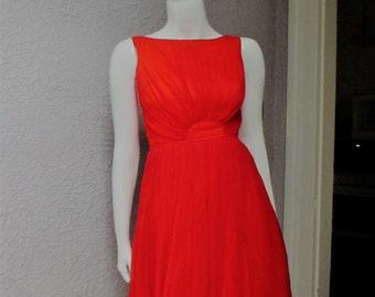50's Vintage Red Silk Chiffon Party Dress XS