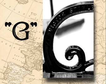 Letter G Alphabet Photography Black and White or Sepia 4 x 6 Photo Letter Unframed