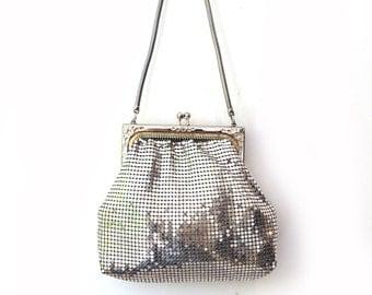 Vintage 1970s Glomesh silver metal mesh and embossed frame evening bag, metal mesh handbag