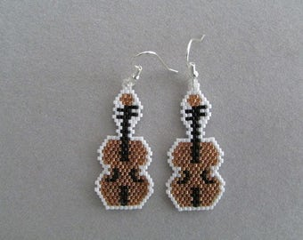 Beaded Violin Earrings