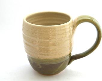 Ceramic Coffee mug, 6oz mug, Tea cup, Kitchen, White, Green, Coffee cup, Ceramic mug, Handmade mug